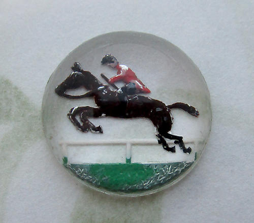 glass reverse painted intaglio steeple chase leaping horse and jockey cabochon 13mm - d283