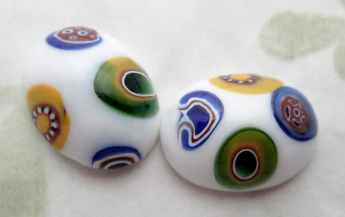 4 pcs. glass millefiori flat back cabochons 16x12mm - d458
