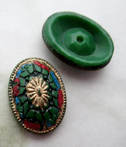 2 pcs. glass hand painted intaglio cabochons 14x10mm - d486