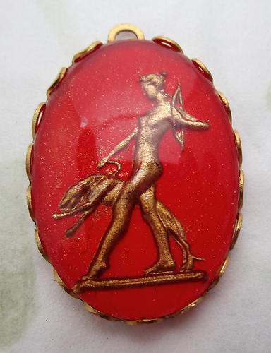 glass reverse painted intaglio Diana the hunter w greyhound and bow and arrow charm 25x18mm - d501