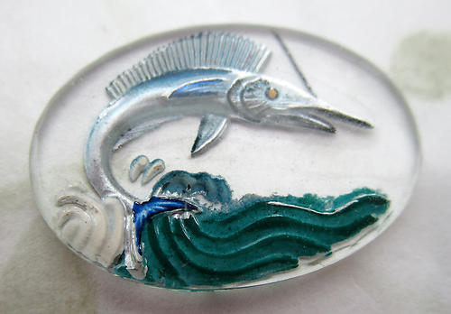 glass reverse painted intaglio leaping swordfish sailfish cabochon 25x18mm - d514