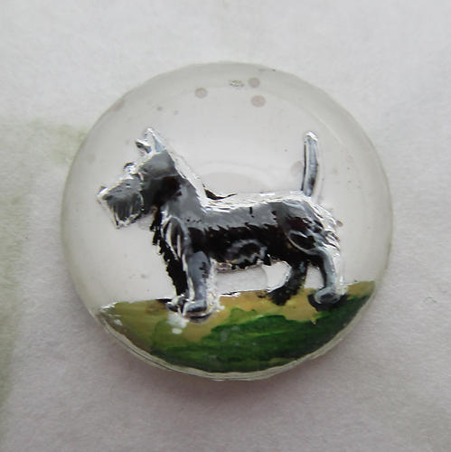 glass reverse painted intaglio scottie dog cabochon 13mm - d525
