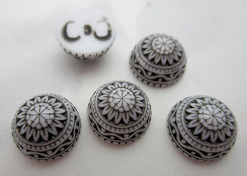 15 pcs. plastic ornate embossed black and white cabochons 10mm - f3099