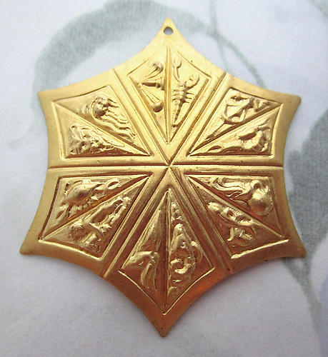 2 pcs. raw brass six pointed star zodiac signs pendant stampings 46mm - f3913