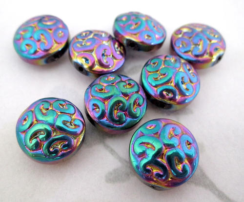 12 pcs. Czech glass ornate paisley AB iris rainbow coated coin beads 13x7mm - f4945