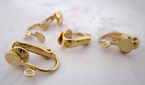 12 pcs. gold tone clip on earring blanks w 4.5mm pad and loop findings- f5336