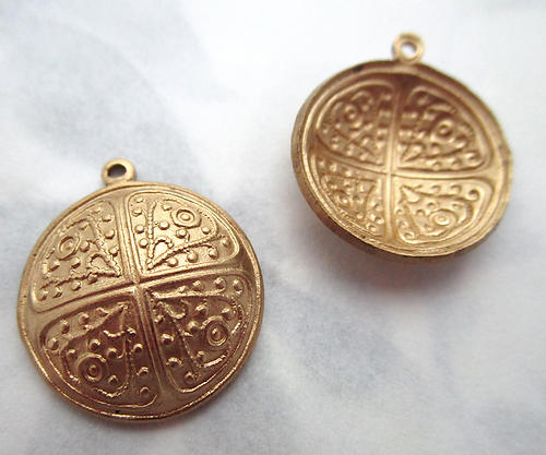 4 pcs. raw brass ornate stampings domed charms 17mm - f7248