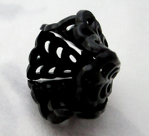 celluloid filigree flower cup in black w rivet hole finding or bead cap 22x15mm - f7366