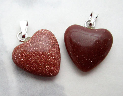 2 pcs. genuine goldstone heart charms 15x14mm - f7375