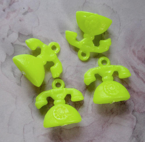 12 pcs. plastic yellow telephone charms 22x16mm - r260
