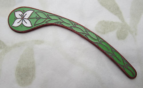 copper w vitreous glass enamel floral flower paisley finding 52x10mm - s100