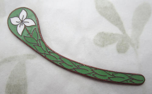 copper w vitreous glass enamel floral flower paisley finding 52x10mm - s120