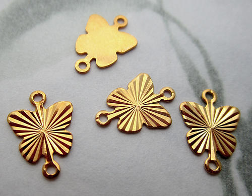12 pcs.  gold tone plated butterfly starburst sun ray two loop connector charms 9x8mm - s840