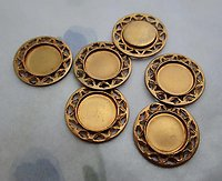18 pcs. raw brass 8mm flat back cabochon settings w filigree edge 13mm - d232