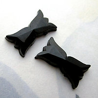 6 pcs. glass black bow flat back cabochons 14x8mm - d275