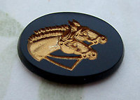 glass gold plated intaglio horses flat back cabochon 18x13mm - d279