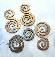 10 pcs. raw brass flattened spiral findings charms connectors 26x15mm - d329