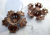 6 pcs. copper coated steel flower filigree stamping w 10mm recess for bead or rhinestone 21mm - d334