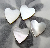 12 pcs. MOP mother of pearl shell heart flat back cabochons 11mm - d376