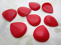 24 pcs. red flexi teardrop hollow back cabochons or findings 17x15mm - d505