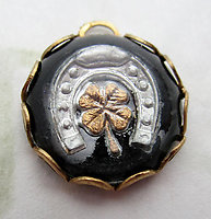 glass reverse painted intaglio good luck horseshoe four leaf clover charm 13mm - d535