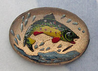 glass reverse painted intaglio leaping fish cabochon 18x13mm - d75