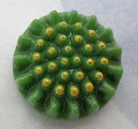 glass green raised bumpy sunflower cameo relief cabochon 16mm - d76