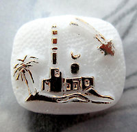 glass shooting star over buildings relief flat back cabochon 16x14mm - f3595