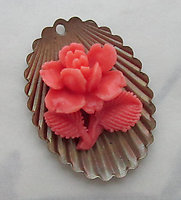celluloid coral orange rose flower cabochon on raw brass scalloped base small pendant charm 23x17mm - f3707