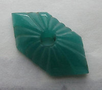 3 pcs. glass green art deco starburst intaglio textured flat back sew on cabochons 18x9mm - f3713