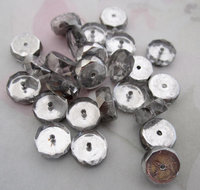 25 pcs. glass silver faceted rondelle beads 9x4mm - f4607