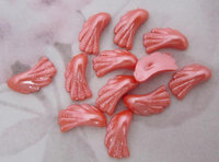 36 pcs. plastic coral orange seashell flat back cabochons 12x7mm - f5250