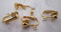 12 pcs. clip on earring findings w 5mm ball and loop - f5344