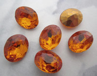 18 pcs. foiled topaz fire polished glass rounded back oval rhinestones 10x8mm - f5407