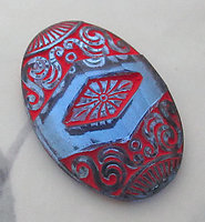 glass blue w red painted intaglio foiled hollow back cabochon 32x27mm - f5997