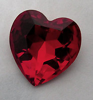 Swarovski art 4916 MCC machine cut crystal siam red gold foiled heart rhinestone 14mm - f6072