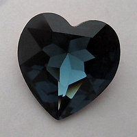 Swarovski art 4916 MCC machine cut crystal Montana sapphire blue gold foiled heart rhinestone 14mm - f6073
