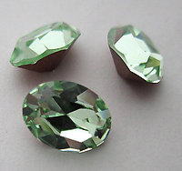8 pcs. Swarovski art 4100 MCC machine cut crystal chrysolite green oval gold foiled rhinestones 8x6mm - f6075