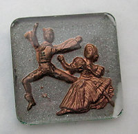 glass reverse painted intaglio ballet folk dancers cabochon 25x25mm - f6193