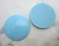 4 pcs. glass baby blue flat back wafer cabochons 35mm - f6516