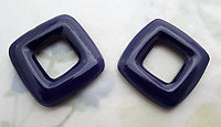 6 pcs. glass deep blue open square hoops connectors findings 25mm - f6517