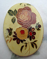 resin cloisonne over aluminum floral flower peony cabochon 40x30mm - f6650