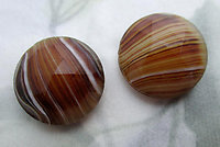 6 pcs. glass brown stripe faceted cabochons 15mm - f6685