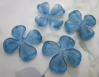 6 pcs. plastic blue sew on flower finding or bead w five holes 43mm - f6715