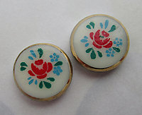 6 pcs. porcelain print PA dutch stencil look flower rose floral flat back cabochons 12mm - f6893