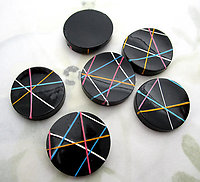 8 pcs. hand painted wood New Wave abstract lines concave flat back cabochons 21mm - f6907