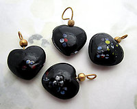 12 pcs. glass black speckled confetti heart charms 15x14mm - f6911