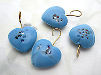 12 pcs. glass blue speckled heart charms 15x14mm - f6912