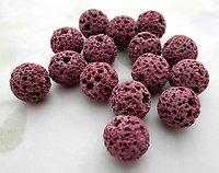 15 pcs. genuine lava pumice beads dyed pink 10mm - f7008