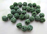 30 pcs. genuine lava pumice beads dyed green 6mm - f7009